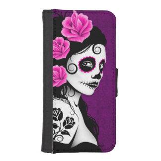 Día púrpura del chica muerto del cráneo del azúcar fundas tipo billetera para iPhone 5