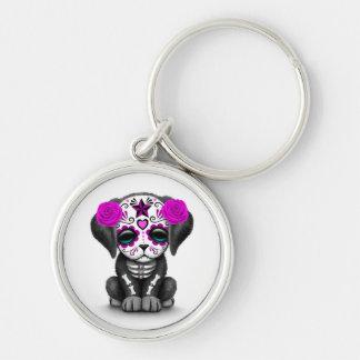 Día púrpura lindo del blanco muerto del perro de llaveros