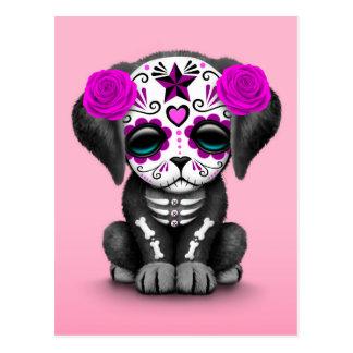 Día púrpura lindo del rosa muerto del perro de tarjeta postal