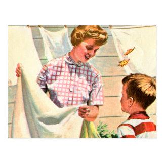 Día retro de Laundy del libro de niños del kitsch Tarjeta Postal