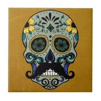 Día retro del bigote del cráneo muerto del azúcar azulejo cuadrado pequeño