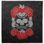 Día retro del cráneo muerto del azúcar del Grunge Servilleta