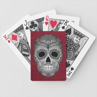 Día retro del cráneo muerto del azúcar en el cuero baraja de cartas bicycle