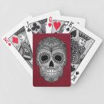 Día retro del cráneo muerto del azúcar en el cuero cartas de juego