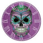 Día retro del cráneo muerto del azúcar en el cuero relojes