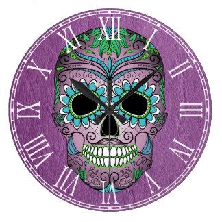 Día retro del cráneo muerto del azúcar en el cuero reloj redondo grande