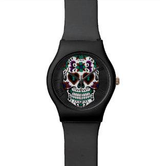 Día retro del cráneo muerto del azúcar reloj