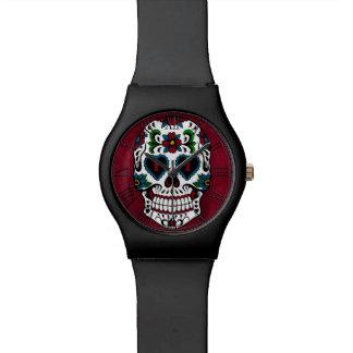 Día retro del cráneo muerto del azúcar reloj de mano