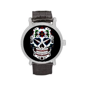 Día retro del Grunge del cráneo muerto del azúcar Relojes De Pulsera