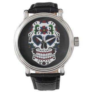 Día retro del Grunge del cráneo muerto del azúcar Reloj