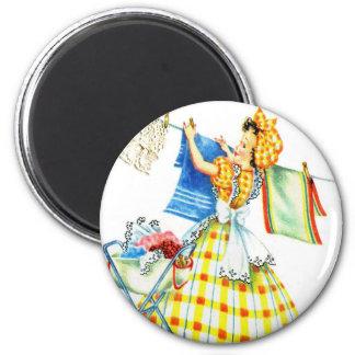 Día retro del lavadero del kitsch de las mujeres d imán redondo 5 cm