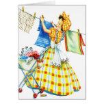 Día retro del lavadero del kitsch de las mujeres d felicitacion