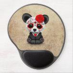 Día rojo de la panda muerta del cráneo del azúcar alfombrillas de raton con gel