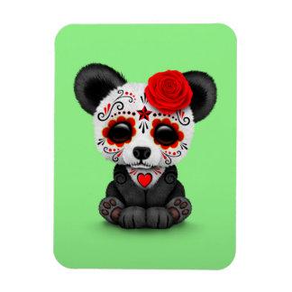 Día rojo de la panda muerta del cráneo del azúcar imanes