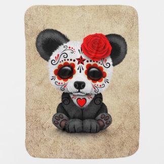 Día rojo de la panda muerta del cráneo del azúcar manta de bebé