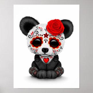 Día rojo de la panda muerta del cráneo del azúcar póster