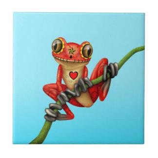 Día rojo de la rana arbórea muerta del cráneo del azulejo cuadrado pequeño