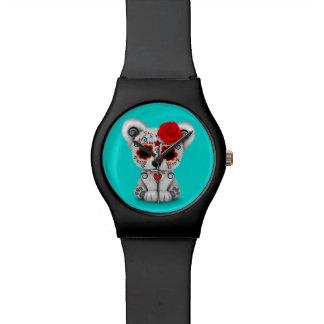 Día rojo del azul muerto del oso del cráneo del relojes de mano