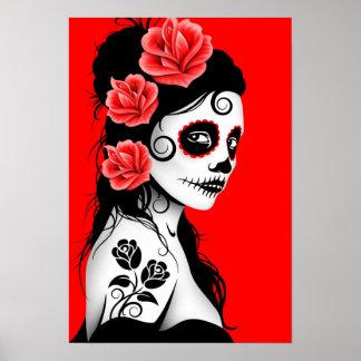 Día rojo del chica muerto del cráneo del azúcar posters