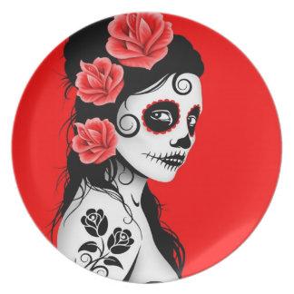 Día rojo del chica muerto del cráneo del azúcar plato de cena