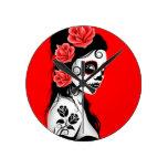 Día rojo del chica muerto del cráneo del azúcar relojes de pared