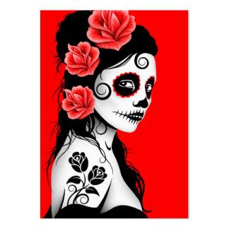 Día rojo del chica muerto del cráneo del azúcar tarjetas de visita grandes
