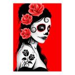 Día rojo del chica muerto del cráneo del azúcar tarjeta personal