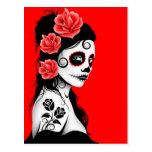 Día rojo del chica muerto del cráneo del azúcar postales