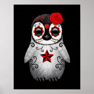 Día rojo del negro muerto del pingüino del cráneo póster