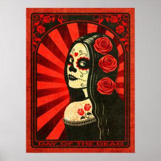 Día rojo del vintage del chica muerto posters