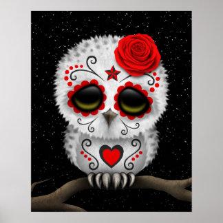 Día rojo lindo de las estrellas muertas del búho póster