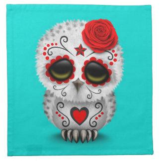Día rojo lindo del azul muerto del búho del cráneo servilletas imprimidas