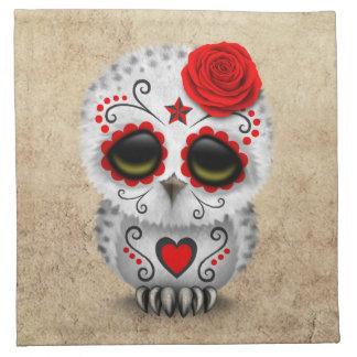 Día rojo lindo del búho muerto del cráneo del servilletas imprimidas