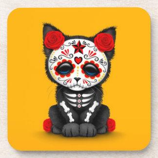 Día rojo lindo del gato muerto del gatito, amarill posavasos