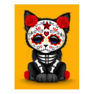 Día rojo lindo del gato muerto del gatito, amarill postal