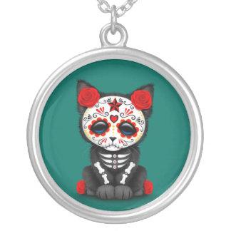 Día rojo lindo del gato muerto del gatito, azul de colgante redondo