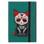 Día rojo lindo del gato muerto del gatito, azul de iPad mini protectores