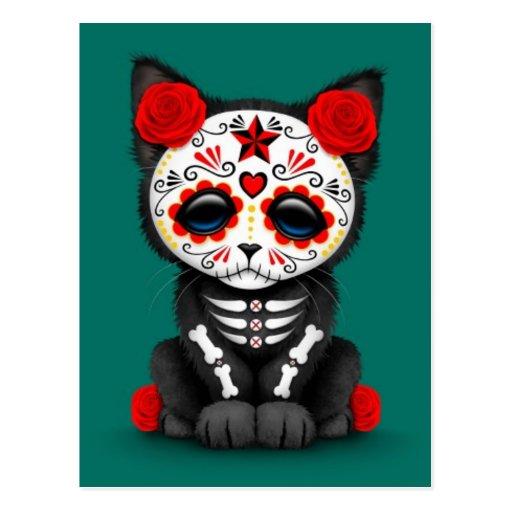Día rojo lindo del gato muerto del gatito, azul de tarjeta postal