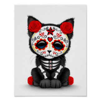 Día rojo lindo del gato muerto del gatito, blanco posters
