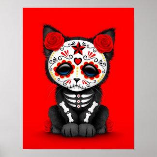 Día rojo lindo del gato muerto del gatito, rojo póster