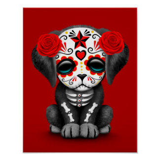 Día rojo lindo del perro de perrito muerto posters