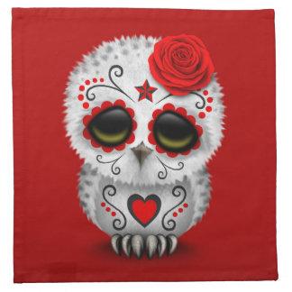 Día rojo lindo del rojo muerto del búho del cráneo servilleta de papel