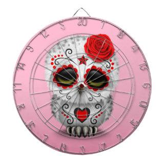 Día rojo lindo del rosa muerto del búho del cráneo tablero de dardos