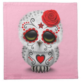 Día rojo lindo del rosa muerto del búho del cráneo servilletas de papel