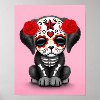 Día rojo lindo del rosa muerto del perro de poster