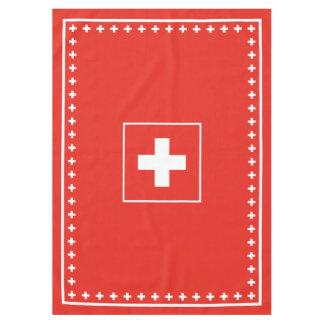 Día rojo y blanco de la bandera suiza básica de mantel de tela