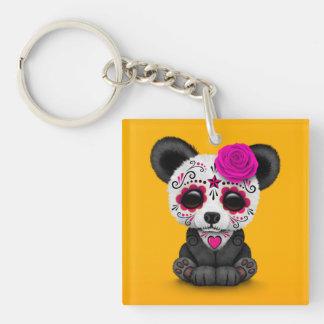 Día rosado de la panda muerta del cráneo del llaveros