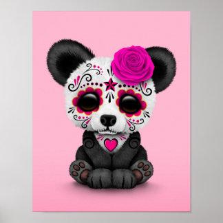 Día rosado de la panda muerta del cráneo del impresiones