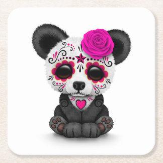 Día rosado de la panda muerta del cráneo del posavasos personalizable cuadrado