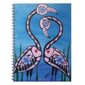Día rosado de los pares del flamenco del cuaderno